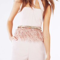 STONE COLUMN OSTRICH FEATHER BELT
