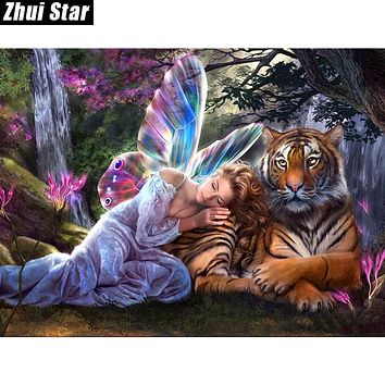 """Zhui Star Full Square Drill 5D DIY Diamond Painting """"Butterfly Fairy Tiger"""" 3D Embroidery set Cross Stitch Mosaic Decor gift VIP"""