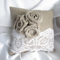ON SALE Ring Bearer Pillow Shabby Chic Wedding Rustic Wedding