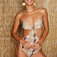 Tonal Snake Ring Cut Out Detail Swimsuit | Boohoo
