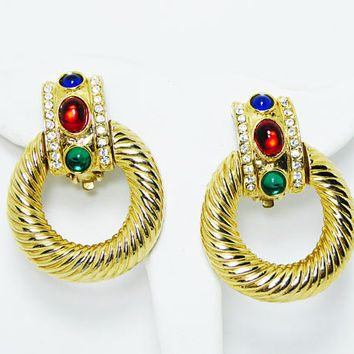 Jewel Tone Door Knocker Earrings - Chunky Hoop, Red, Blue, Green Glass Cabochons & Accents of Clear Rhinestones, Vintage 1980s Retro Jewelry