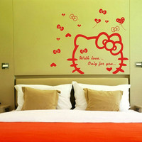 FREE SHIPPING hello kitty Vinyl  wall sticker wall art mural 239