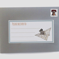 Please Deliver To Mailing Label Stickers, Set of 24: Squirrel on paper plane
