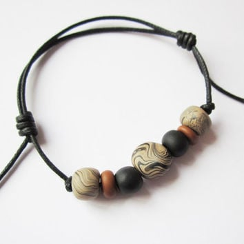 Mens cord and clay bead bracelet, surfer bracelet for men , mens polymer clay jewelry, gift for him