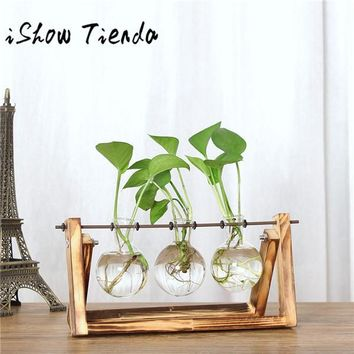 Creative Transparent Vase (Vintage Style Wooden Frame + Glass Vase)