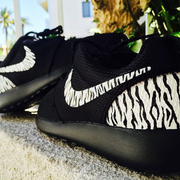 Womens Nike roshe Zebra print, cute animal design, black and white. chic, fashionable, love