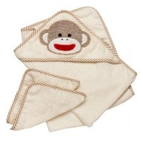 Sock Monkey Company.com - Sock Monkey Baby Hooded Towel and Washcloth Set