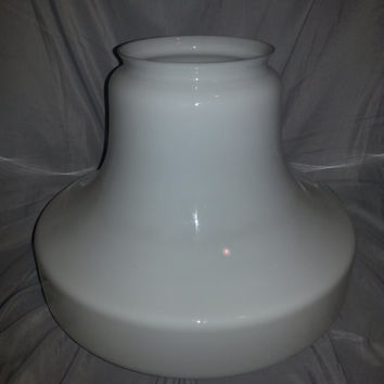 Vintage 1950s Large Bell Shape Milk Glass School House Light Fixture Globe