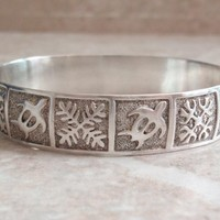 Honu Turtle Bangle Bracelet Sterling Silver Small 5.5 Inch Vintage