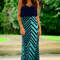 Split Chevron Maxi, Navy/Mint