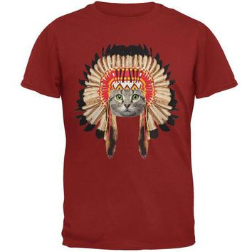 ONETOW Thanksgiving Funny Cat Native American Adult T-Shirt Day-First?
