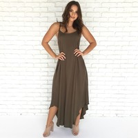 Take My Time Olive Jersey Maxi Dress
