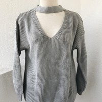 SAMPSON CHOKER SWEATER- GREY