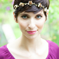 Gold Floral Crown Tie-Back Headwrap