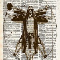 Big Lebowski art - Vitruvian Dude - The Dude art print - Dictionary print art