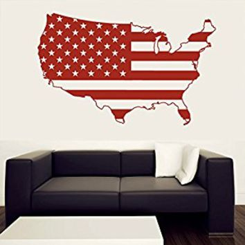 Wall Decal Vinyl Sticker Decals Art Decor Design Map of The USA World States Mural Modern Map Gift Stars Stairs Bedroom Style(r439)