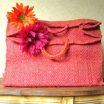 Sisal Bag straw tote bag weekender bag beach bag market bag large carryall boho travel bag hot pink Floradora