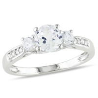 1 1/3 Carat Created White Sapphire and Diamond 3-Stone Ring in 10k White Gold