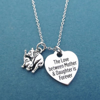 The Love between Mother & Daughter is Forever, Elephant, Silver, Necklace, Heart, Love, Mother Daughter, Gift, Jewelry