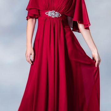 CLEARANCE - Long Chiffon Grecian Red Dress Mid Length Sleeves V Neck (Size Medium)