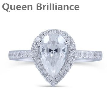 Women's 14K Gold 1 Carat Pear Cut Moissanite Diamond & Real Diamond Accented Engagement Ring