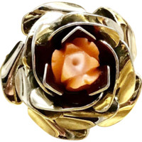 Unique Mid Century Intricate Detailed Blooming Rose Ring with Individual Petals and Featuring Rose Craved Coral and Crafted with Gilded Sterling Silver Currently a Size 4.5