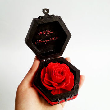 Alternative engagement ring box,  black red gothic blue lace sola flower birch bark heart small box