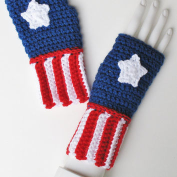 Captain America Wristwarmers, Fingerless Mitts, Wristies, Texting Gloves, Marvel Avengers, Superhero Costume, Ready to Ship