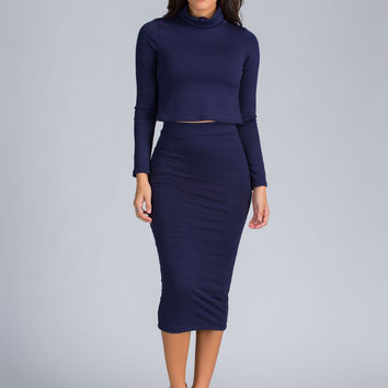 Invincible Crop Top And Midi Skirt Set