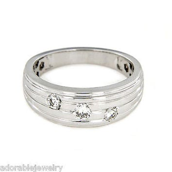 Platinum Over Sterling Silver White Diamond Three Stone Band Ring in All Sizes