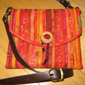 Small Purse Crossbody Bag - Adjustable leather strap - Red Orange Gold Batiks