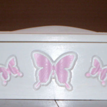 chest  storage box doll furniture handcrafted for American girl doll pink butterfly design