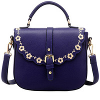 Lavender Floral Trim PU Leather Shoulder Bag