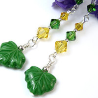 Green Yellow Earrings, Leaf Beads, Crystals, Swarovski Fern and Sunflower, Sterling Silver Beads and Hooks, Long Dangles, Handmade Beaded