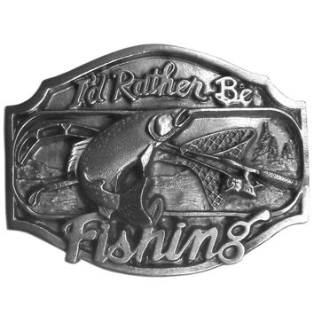 Sports Accessories - I'd Rather Be Fishing  Antiqued Belt Buckle