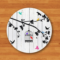 Bird Cage Drawing Draw White Wooden Mouse Pad Vintage Color Mousepad Electronics Pads Office Deco New Gift For HIM & Her Large Computer Pad