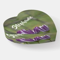 Purple Flowers Floral Heart Glass Paperweight