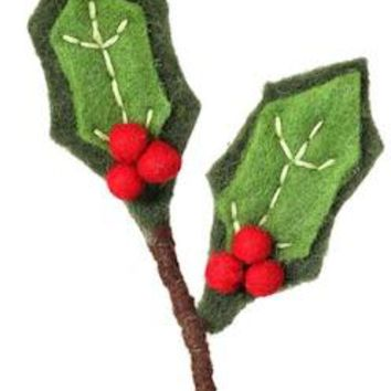 "Wool Holly and Berry Christmas Pick - 13"" Tall"