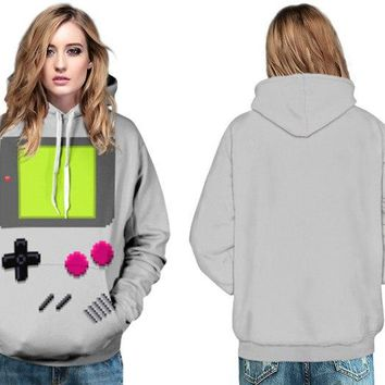 Women Skateboarding Hoodies Autumn Winter Grey PACMAN Games Pullover Sweatshirts Double Pockets Long Sleeves Jacket Tracksuits