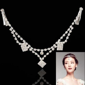 CUPUP9G F&U Rhombic Silver Color Zinc Alloy Dangle Charm Claw Forehead Chain Hair Jewelry for Girls Gift