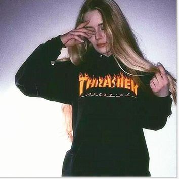Men/Women sportswear Thrasher hoodie flame skateboard dead fly west hip-hop harajuku hooded fleece Thrasher THRASHER sweatshirt Dark Grey