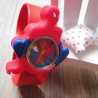 hot sale 1pcs/lot kids' spiderman cartoon 3D slap watch