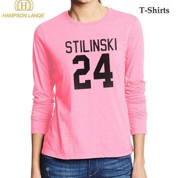 PEAP78W Stilinski 24 Teen Wolf Brand Female T-Shirt 2017 Casual Autumn 100% Cotton Long Sleeve T Shirt Hipster Kawaii Pink Top Tee Shirt