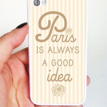 Plastic iPhone Case - Paris is Always a Good Idea - Quote - Audrey Hepburn - iPhone 4/4s - iPhone 5