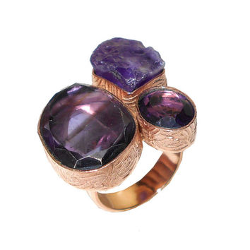 Purple Amethyst Ring, Statement Ring, Raw Gemstone Ring, Unique Design Ring, Semi Precious Ring, Bezel Set Ring, Three Stone Ring, Gift Ring