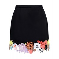 Christopher Kane Floral Hem Skirt - Lace Embroidered Black Skirt - ShopBAZAAR