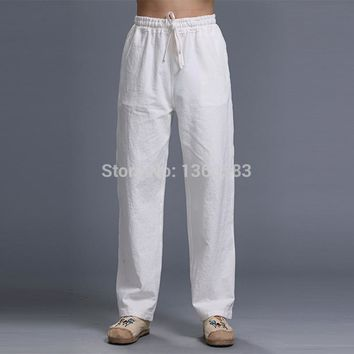 New Top quality Men pants Classic White kung fu sport trousers martial arts tai chi sweatpants leisure training Linen Trousers