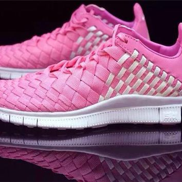 """Nike"" Free Lnneva Woven Tech SP Nike barefoot 5.0 Hand made Weave Pink Angel Sports Shoes"