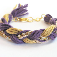 Friendship bracelet purple and yellow braid by LeiniJewelry