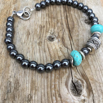 Men's Hematite Bracelet,Wrist Mala Mens Beaded Bracelet, Men's  and Women's Hematite and Turquoise Bracelet with Clasp .